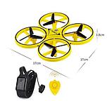 Квадрокоптер-дрон с управлением жестами от руки браслетом Dowellin Gravity желтый, фото 5