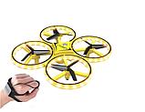 Квадрокоптер-дрон с управлением жестами от руки браслетом Dowellin Gravity желтый, фото 3