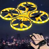 Квадрокоптер-дрон с управлением жестами от руки браслетом Dowellin Gravity желтый, фото 7