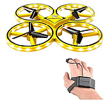 Квадрокоптер-дрон с управлением жестами от руки браслетом Dowellin Gravity желтый, фото 2