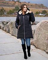 Женская зимняя удлиненная куртка большие размеры, курточка на овчине с капюшоном батал