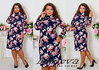 """Женское стильное платье с шифоновыми рукавами """"Эрика"""" / батал / темно-синее с цветочным принтом"""