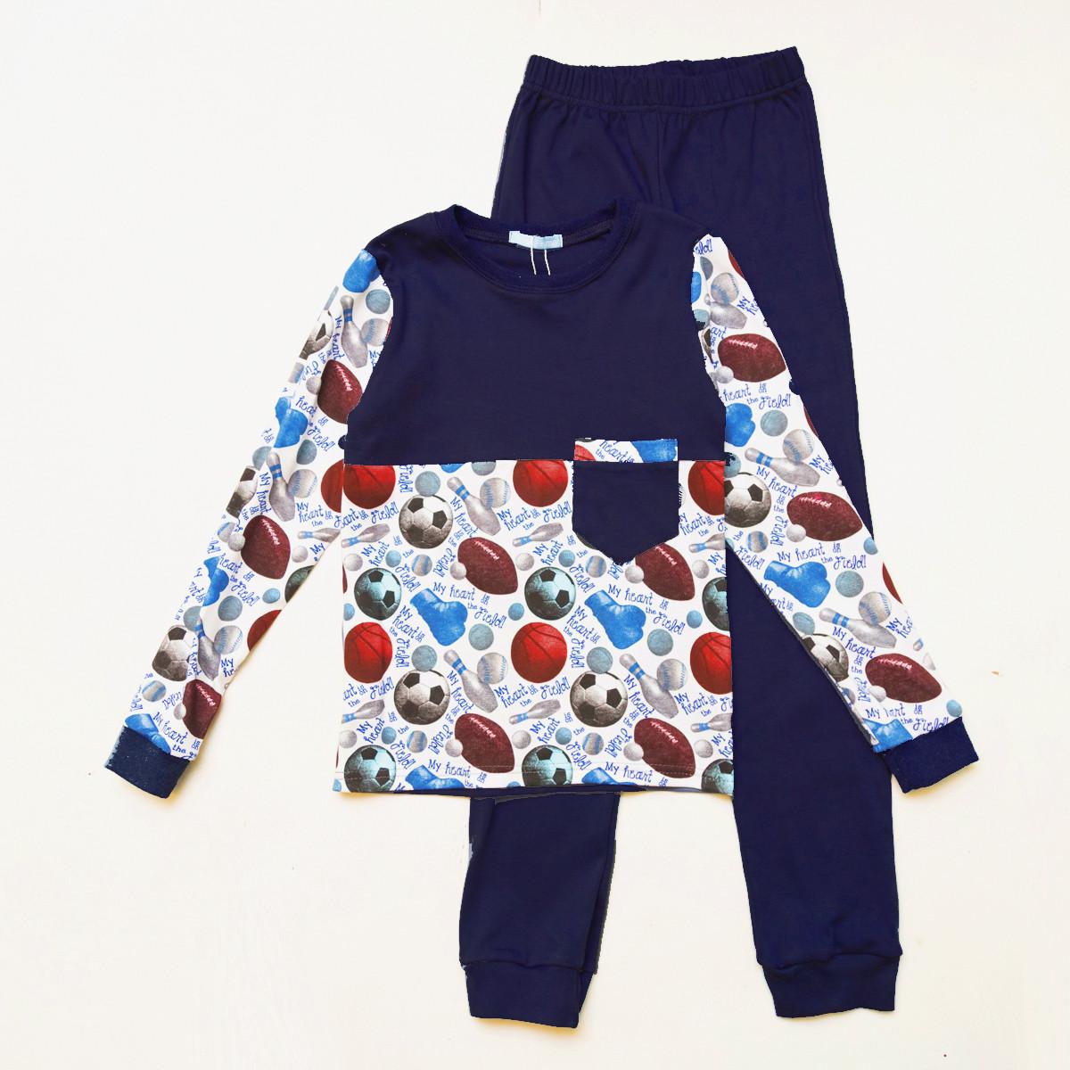 Детская пижама р.104,116,122,128 для мальчика SmileTime Sport Time, темно-синяя
