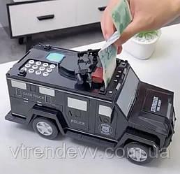 Электронный сейф копилка Машина с кодовым замком и отпечатком пальца и ультрафиолетом EL 510-7
