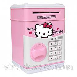 Копилка сейф с кодовым замком и купюроприемником для бумажных денег и монет Hello Kitty