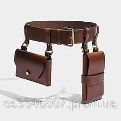 """Жіночий шкіряний ремінь з двома кишенями """"Novità"""" коричневий. Поясна сумка"""