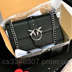 Шкіряна жіноча сумка Pinko міні Love Bag чорна