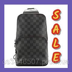 Мужская нагрудная сумка Louis Vuitton Avenue Damier Graphite. Сумка Луи Виттон