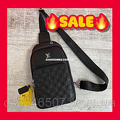 Мужская сумка-слинг Louis Vuitton. Кожаная сумка Луи Виттон