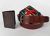 Подарочный набор для мужчины. Кожаный кошелёк зажим и ремень