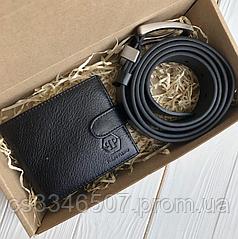 Мужской кошелек и ремень Philipp Plein на подарок черный