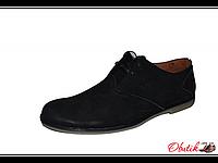 Туфли мужские Broni на шнуровке черные натуральная кожа B0003