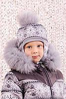 Шапка зимняя для мальчика с помпоном, детская зимняя шапка
