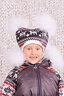 Шапка зимняя  для девочки с помпонами, детская зимняя шапка