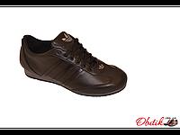 Кроссовки мужские спортивные Adidas кожа на шнуровке черные AD0012