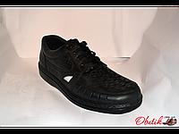 Туфли мужские летние Tigina кожаные черные на шнуровке Ti0003