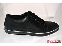 Туфли-мокасины мужские полуспорт Miratti кожа черные MI0013
