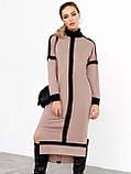 Трикотажное платье с воротником-стойкой и удлинённой спинкой, фото 2