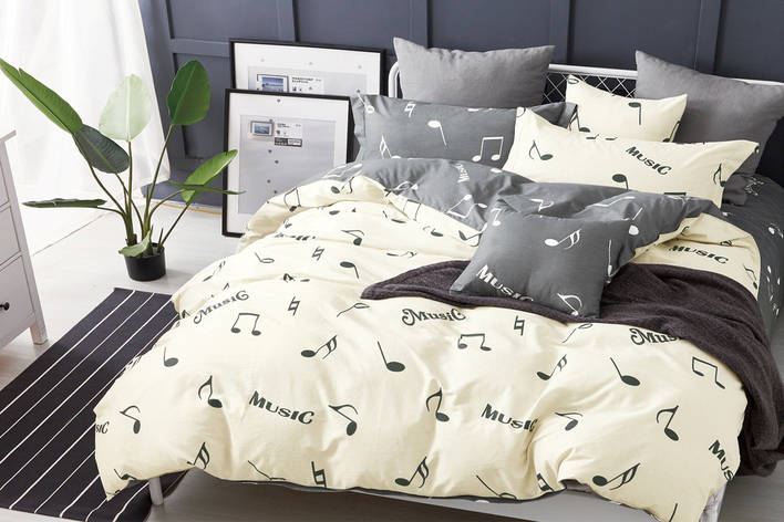 Двуспальный комплект постельного белья евро 200*220 хлопок  (16045) TM KRISPOL Украина, фото 2