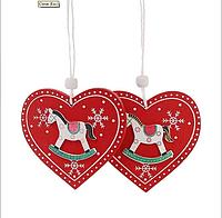 Деревянная игрушка открытка на ёлку, Сердце, 8 см