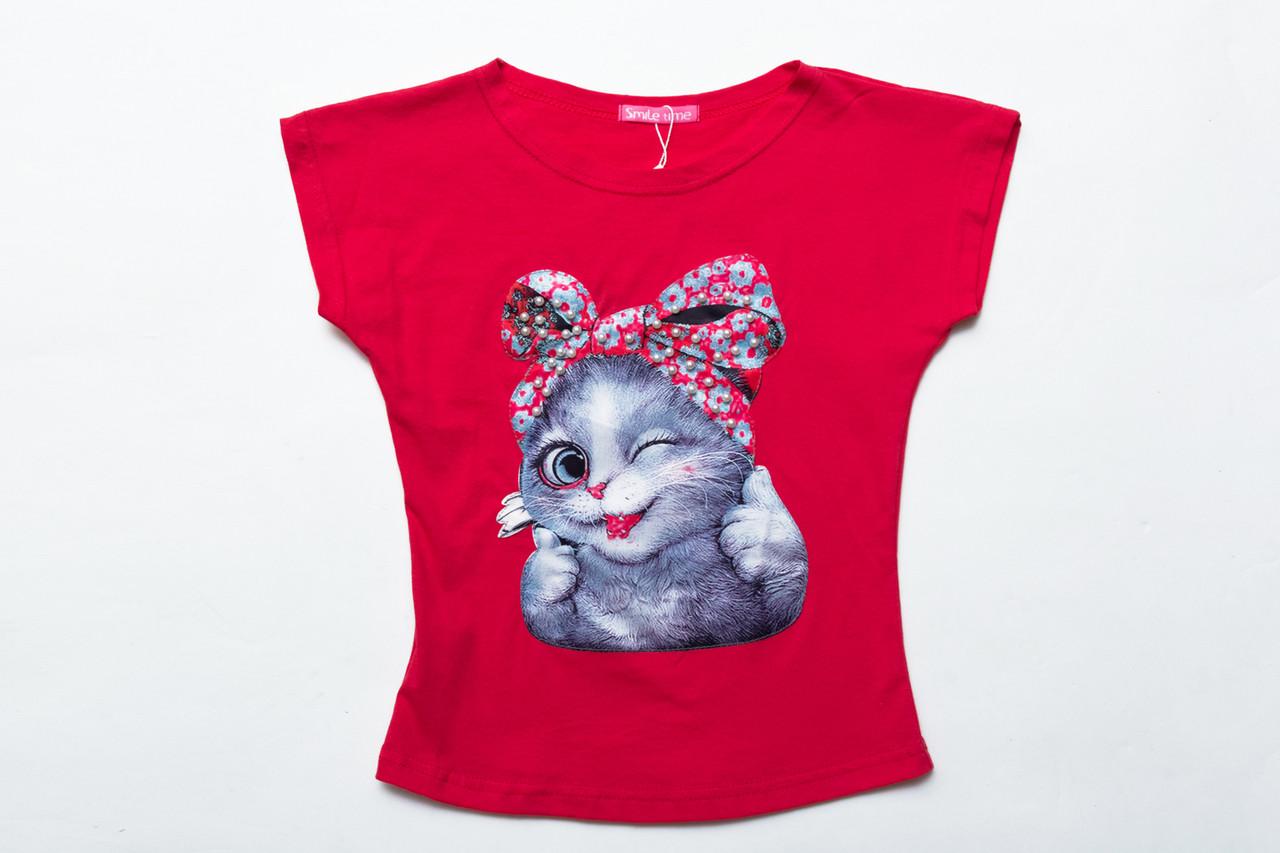 Футболка для девочки р.116 Cute Cats SmileTime , розовый коралл