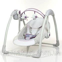Детские Качели люлька 6505 Фиолетовый Mastela Музыка, таймер, 5 скоростей, дуга с подвесками, 2 положения