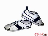 Туфли-мокасины мужские летние белые спортивные на шнуровке Miratti кожа с перфорацией MI0001