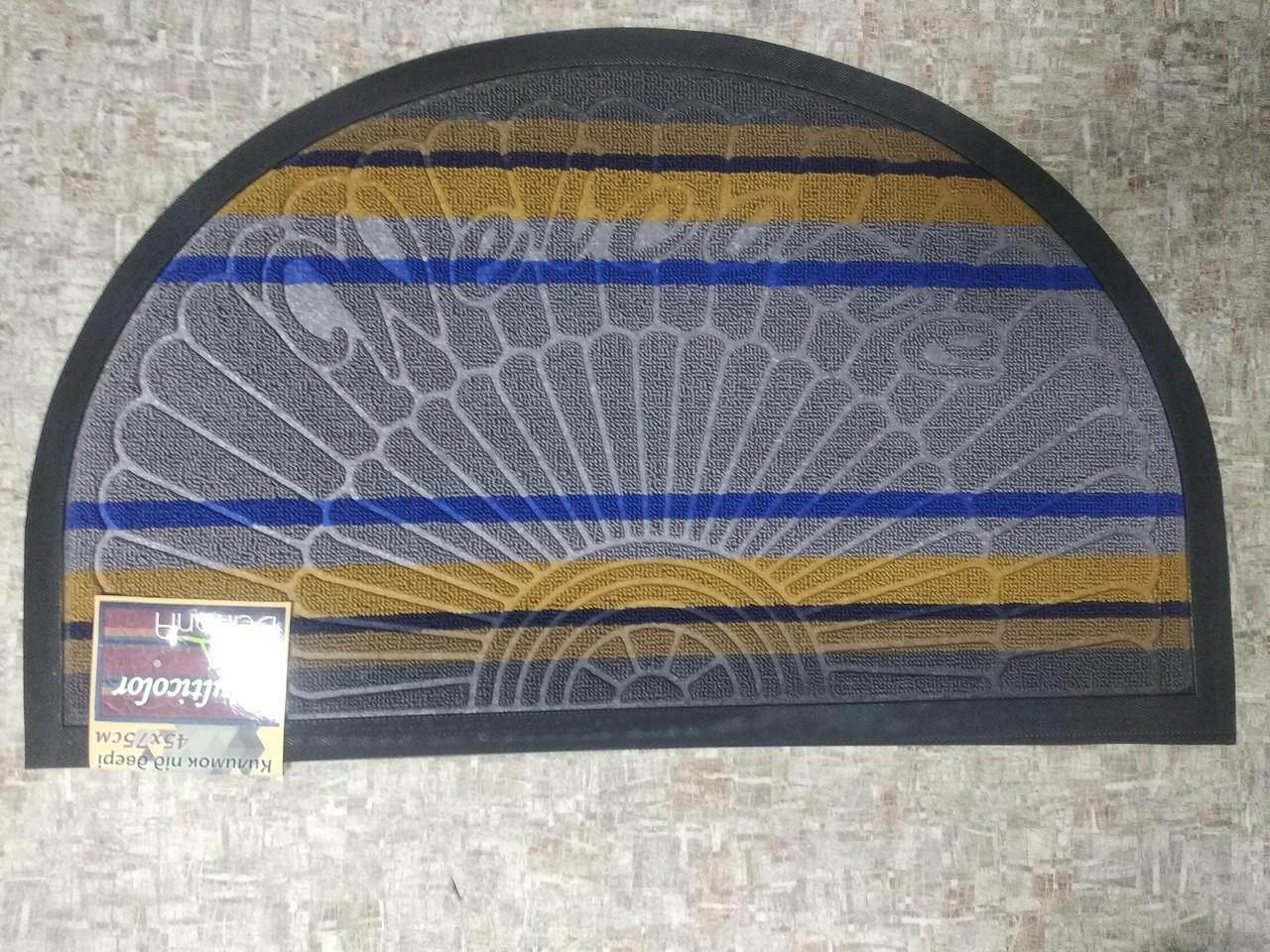 Коврик придверный полукруглый Multicolor 45х75см светло-серый