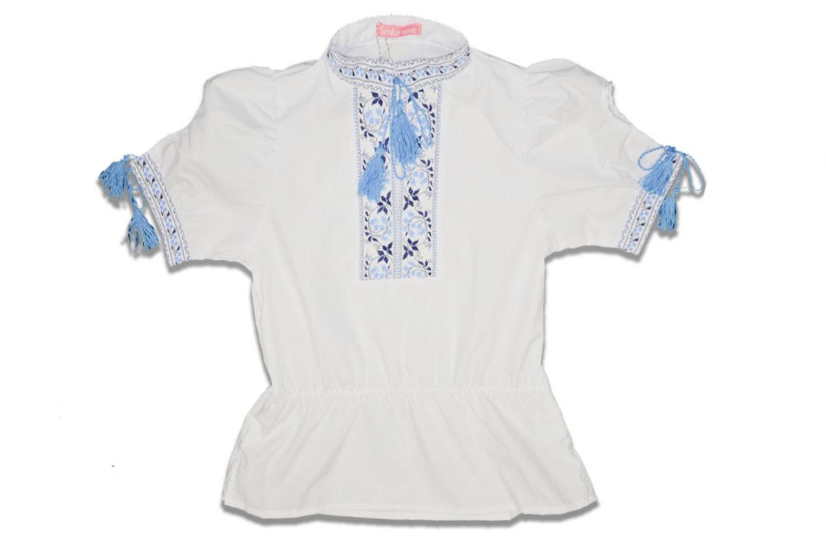 Вышиванка для девочки с коротким рукавом р.128,134,140,146 SmileTime , голубой узор