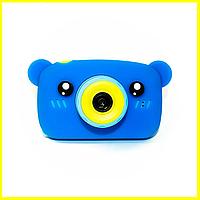 Детский цифровой фотоаппарат CHILDREN`S FUN 20мп голубой в форме мишки, детская фотокамера игрушка