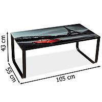 Стеклянный журнальный стол Signal Taxi ll 105x55х43см с рисунком Париж на металлических ножках