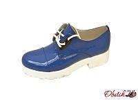 Туфли женские закрытые Sofis лаковая кожа белая подошва синие So0053