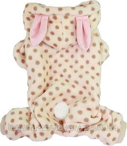 Теплый комбинезон  для собак Кролик, размеры S, M,  L, XL, 2XL, кремовый