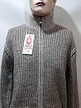 Мужская кофта на молнии теплый шерстяной свитер р. хл Turhan отличного качества коричневый последний, фото 5