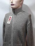 Мужская кофта на молнии теплый шерстяной свитер р. хл Turhan отличного качества коричневый последний, фото 9