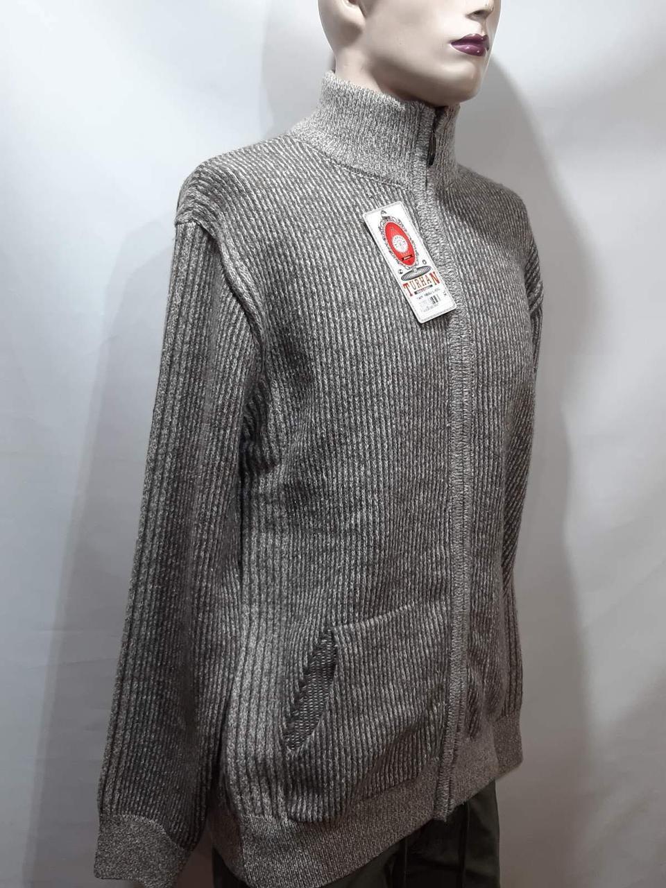 Мужская кофта на молнии теплый шерстяной свитер р. хл Turhan отличного качества коричневый последний