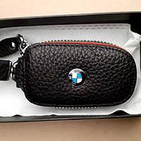 Оригинальный брелок для ключей авто BMW из эко кожи со змейкой