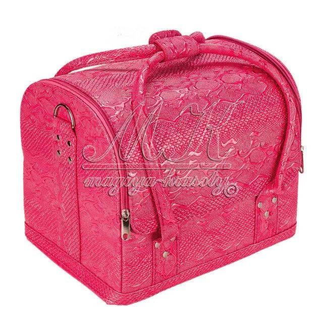 Бьюти-кейс для косметики, визажиста, мастера маникюра розовый текстурный