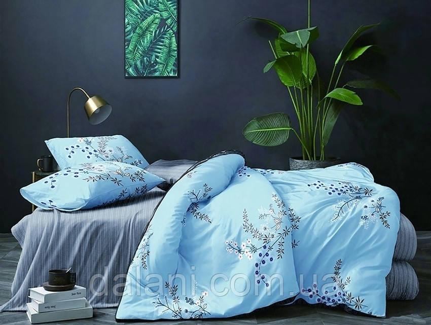 Полуторный голубой комплект постельного белья из Ренфорса