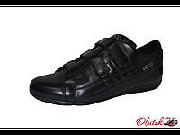 Туфли мужские спортивные ECCO кожа на липучках черные E0003