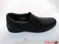 Туфли подростковые Украина кожаные черные Uk0019