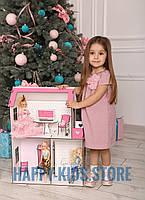 Деревянный кукольный домик для Барби + Мебель в ПОДАРОК!