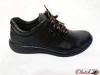 Туфли подростковые Украина кожаные черные на шнуровке Uk0020