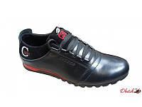 Туфли мужские спортивные Cuddos кожаные черные с красным Cu0007