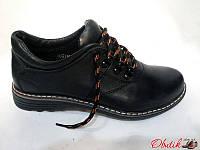 Туфли подростковые Украина кожаные черные на шнуровке Uk0017