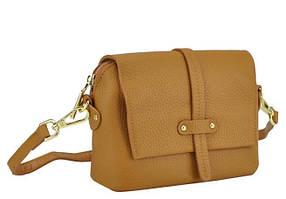 Женская кожаная сумочка кроссбоди флеп коричневая Riche W14-663LB