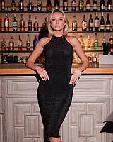 Облегающее клубное черное платье миди из люрекса, фото 1