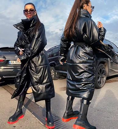 """Женское тёплое пальто до больших размеров 581 """"Кожа Кнопки Ремешок"""""""