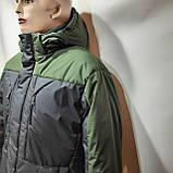 Зимняя теплая мужская куртка на кашемире с капюшоном Зеленая с черным, фото 3