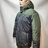 Зимняя теплая мужская куртка на кашемире с капюшоном Зеленая с черным, фото 4